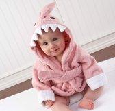 Baby Badjas Dier – Baby Badjasjes - Snel Drogende Bad Cape Badstof Katoen - Roze Haai - Meisje