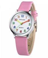 Meisjes horloge roze met gekleurde cijfers en leer bandje