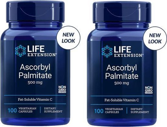 Ascorbyl Palmitate, 500 Mg 100 Vegetarian Capsules, 2-pack