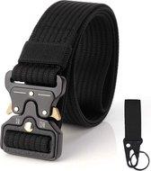 Rigger belt met metalen cobra stijl gesp (inclusief sleutelhanger) - Quickrelease buckle - Rigger riem. Zwart