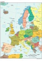 Poster Kaart Europa Landen & Hoofdsteden - Educatief - Schoolplaat - Large 70x50