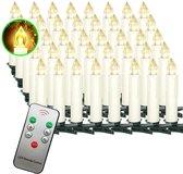 Kerstboom LED Kaarsen set van 40 ledkaarsen + afstandsbediening   kerstboom kaarsen   flikkerende vlam   afstandsbediening met timerfunctie en instelbare helderheid   op batterijen waterdicht met kaarsenhouder clips   kerstboomverlichting warm wit