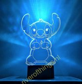 Lampje voor meisje of jongen. Stitch / Lilo en Stitch nachtlamp. Cartoon lamp. 3D illusie Nachtlamp Stitch. Mooie sfeerlamp - 7 kleuren Mulitcolor Lilo & Stitch.