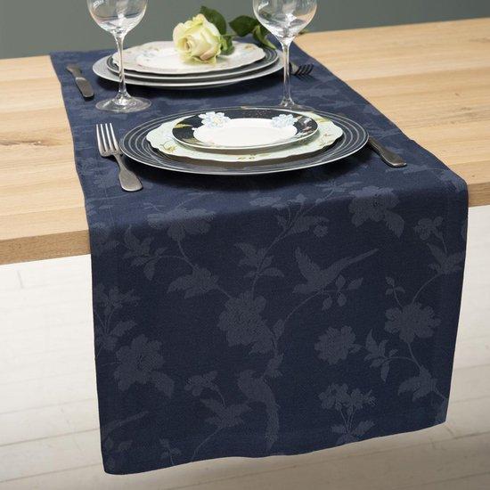 Laura Ashley Heritage Tafelloper Midnight blauw 2-tone 40x150cm
