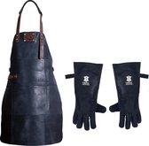 Leren Schort + Leren Handschoenen - Lederen Schort – ZWART - Kokschort - BBQ Schort - Kookschort - Vaderdag - Kerst Cadeau voor Man Vader Opa Papa – 81 cm x 56 cm Inclusief Handschoenen voor de Barbecue