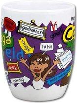 Mok - Cartoon Mok - Voor de allerbeste collega - Gevuld met een snoepmix - In cadeauverpakking met gekleurd krullint