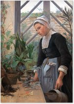 Meisje met de Plant - Anna Petersen - Schilderij op Canvas
