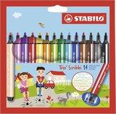 STABILO Trio Scribbi - Ergonomische Viltstift - Onverwoestbaar Door Meeverende Schrijfpunt - Etui met 14 Kleuren