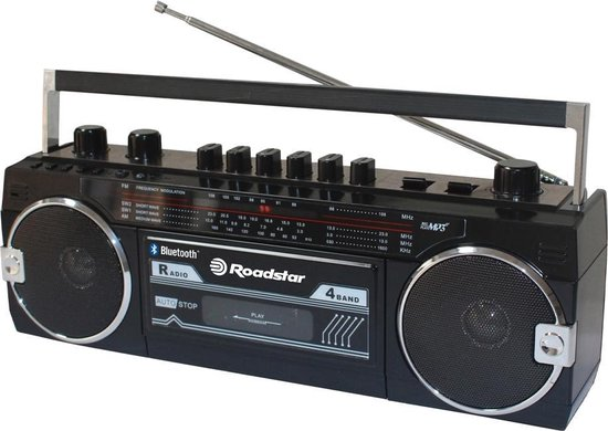 Roadstar RCR 3025 Retro Radio, Ghettoblaster met USB en Bluetooth - Zwart
