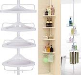 Praktisch Douche Rek met 4 Schappen voor de Badkamer - Aanpasbaar qua Lengte - Wit