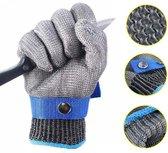 Oesterhandschoen met Binnen Handschoen maat M - Slagershandschoen 100% RVS - Veilig Oesters openen - Snijwerende Oester / Vis / Vlees / Slagershandschoen 100% RVS - Veilig Oesters Openen