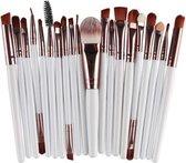 Evvie 20-delige make-up kwasten set - rosé zilver