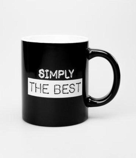 Mok - Zwart wit - Simply the best - Gevuld met droplullen - In cadeauverpakking met gekleurd lint