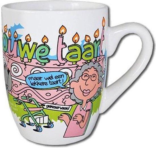 Mok - Cartoon Mok - Ouwe taart - Gevuld met droplullen - In cadeauverpakking met gekleurd lint