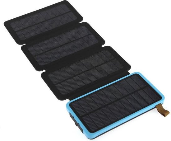 V-electric - Wireless charger - Solar powerbank - Blauw – outdoor powerbank -  20.000 mAh – powerbank – 2 poorten – Zonneenergie – spatproef