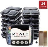 MEALE® - Meal Prep Bakjes 14 Stuks + Bestekhouder - 3 vakken - BPA vrij - Vershoud Lunchbox - Food prep containers - Maaltijdbakjes