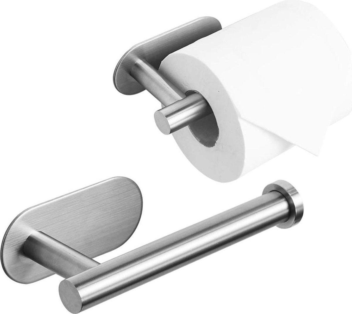 Toiletrolhouder zonder boren - Zilver - RVS WC Rolhouder Zelfklevend