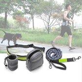 Heupband voor handsfree hardlopen met hond - Reflecterende hondenriem - Uitlaatriem - Hardloopriem - Heupriem - Jogging dog leash - Looplijn hond - Hondenriemen - Grijs/Neon Groen