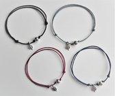 Jewellicious Designs Lucky Four geluksarmbandjes voor Pink Ribbon – set van 4 – one size fits all