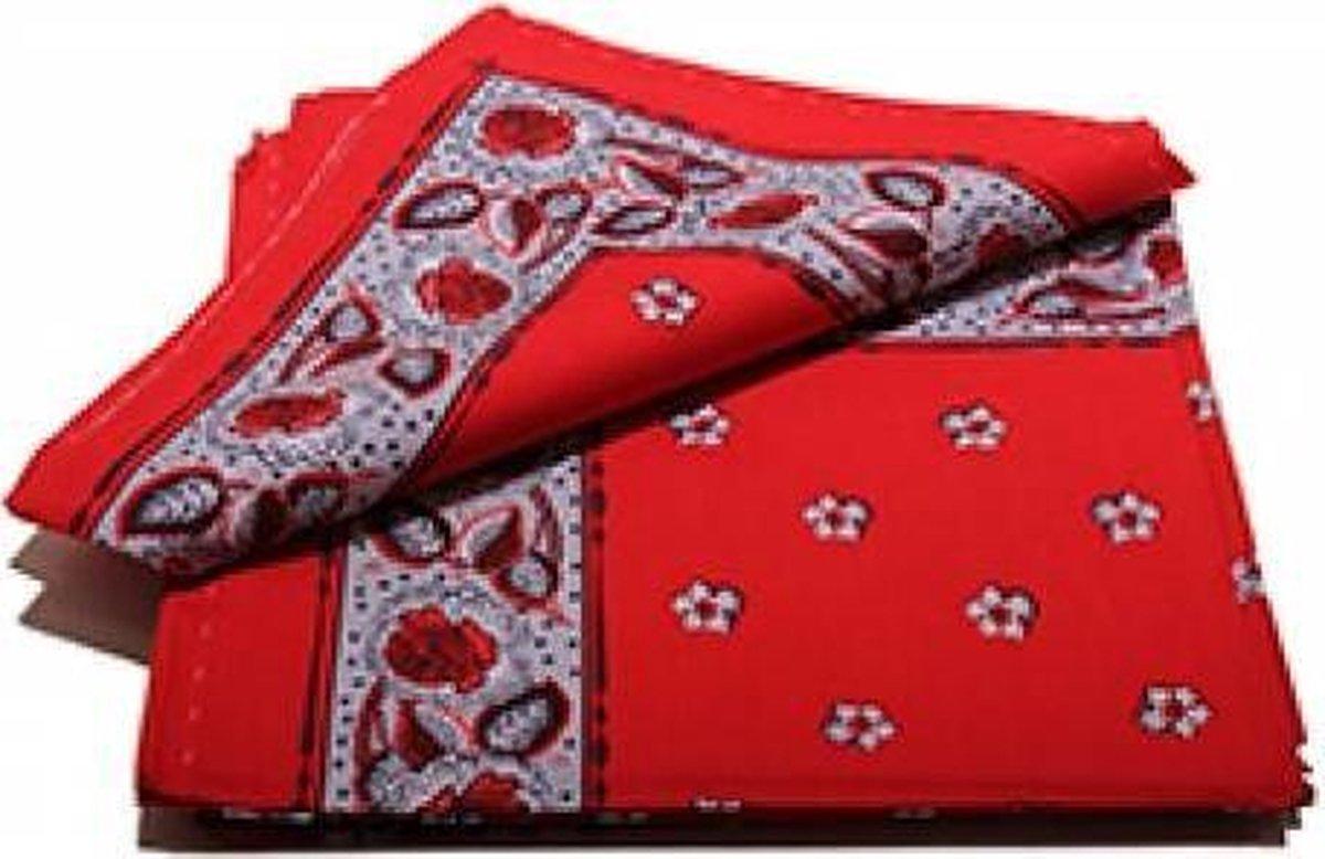 Boeren zakdoek rood  Bloem 55 x 55 cm  - HRBZ02
