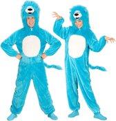 Leeuw & Tijger & Luipaard & Panter Kostuum | Dieren Onesie Pluche Blauwe Leeuw Kostuum | Medium / Large | Carnaval kostuum | Verkleedkleding