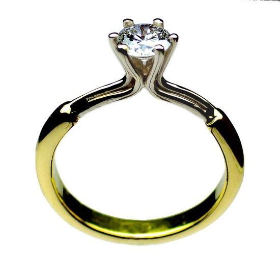 COOLDOG™ solitair ring Briljant geslepen Diamant 0.70 ct. V.V.S. BiColor Gouden ring