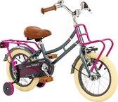 2Cycle Heart Kinderfiets - 14 inch - Grijs-Roze - Meisjesfiets