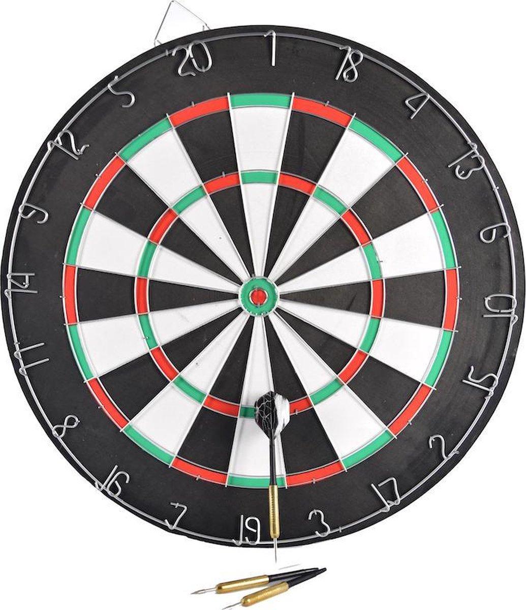 DartBord - incl. 6x Steeltip dartpijlen - Ø bord: 42cm dubbelzijdig speelbaar Steeldarts