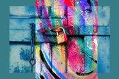 Deur met slot en ketting van metaal, staal, roest en gietijzer | industrieel, abstract, popart, graffiti | Foto schilderij print op Canvas (canvas wanddecoratie) | 60x40cm