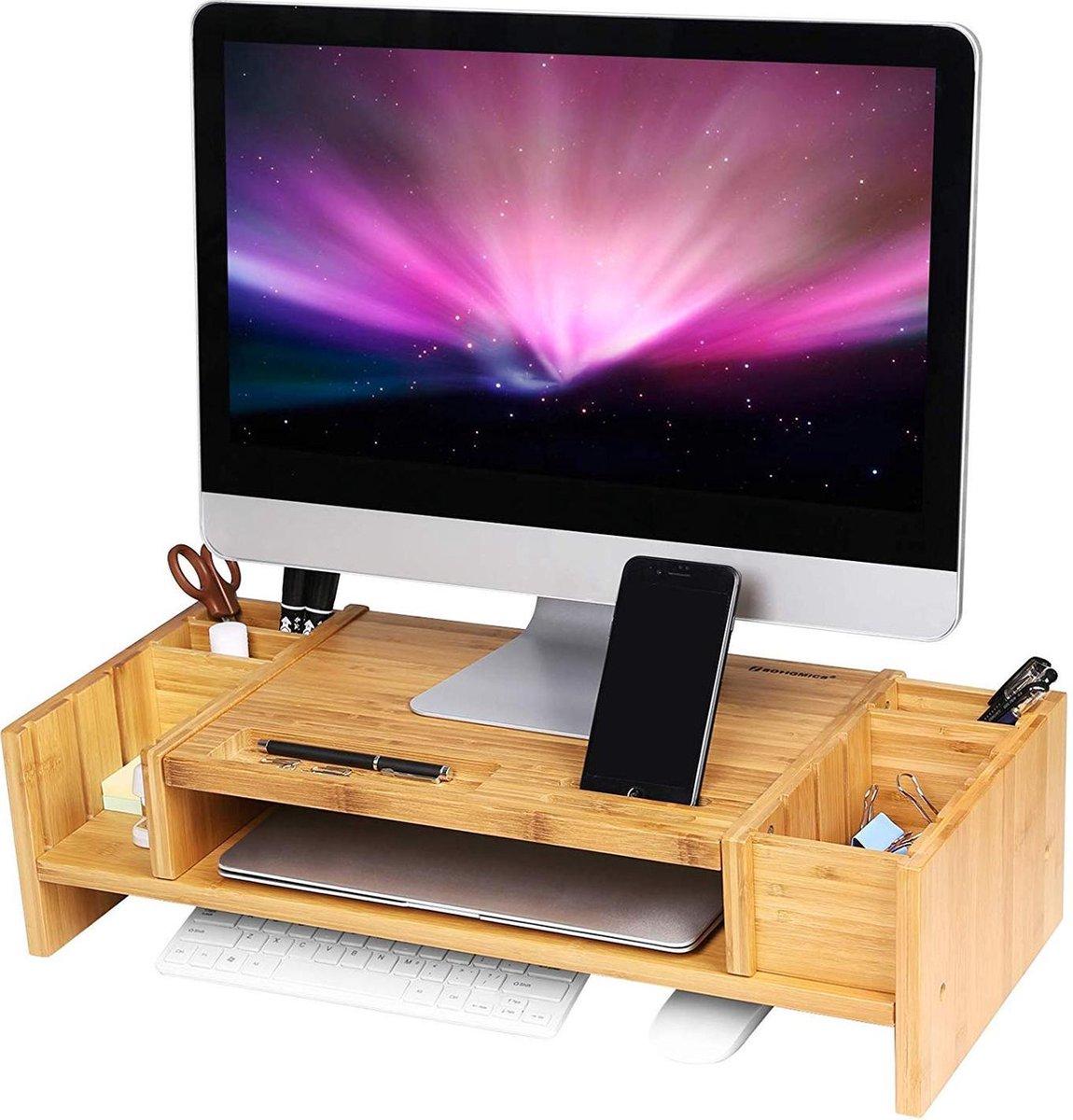 Nancy's monitorstandaard - Laptoptafel bamboe - Beeldschermstandaard kopen