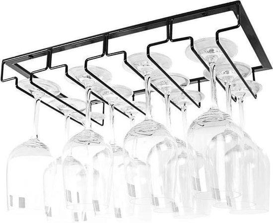 VDN Stainless Ophangrek Wijnglazen - Wijnglazenrek - Wijnglazenhouder - Zwart - Metaal - Vier rijen - Inclusief bevestigingsmateriaal - Wijn Glas Rek - Wijnrek - 12 Glazen - Bar - Keuken - Café
