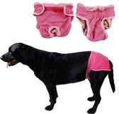 Hondenbroekje - luier voor teef - loopsheid - ongesteldheid - wasbaar - PINK - LARGE