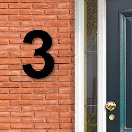 Huisnummer Acryl zwart, cijfer 3, Hoogte 16cm | Huisnummer plexiglas | Huisnummer modern | Huisnummer kopen | Topkwaliteit | Gratis verzending!