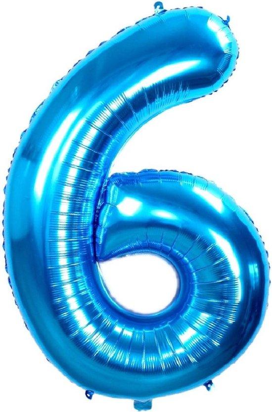 Folie Ballon Cijfer 6 Jaar Blauw 86Cm Verjaardag Folieballon Met Rietje