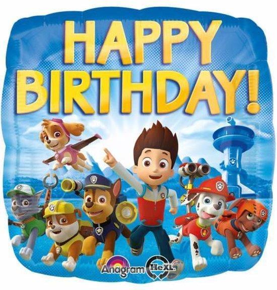 Paw Patrol Helium Ballon Happy Birthday 45cm leeg