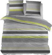 Snoozing Basha - Flanel - Dekbedovertrek - Eenpersoons - 140x200/220 cm + 1 kussensloop 65x65 cm - Lime