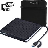 LifeGoods Externe DVD Speler en Brander - DVD/CD Drive voor Laptop of Macbook - Data en Voeding Via USB 3.0 of USB C - Inclusief Beschermhoes en Kabel - Zwart