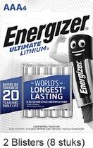 8 stuks (2 blisters a 4 stuks) Energizer AAA Ultimate Lithium 1.5V Micro LR03/FR3