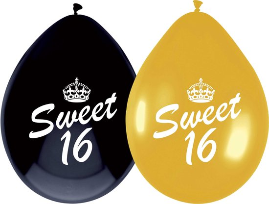 Haza Original Ballon Sweet 16 30 Cm Latex Goud/zwart 6 Stuks
