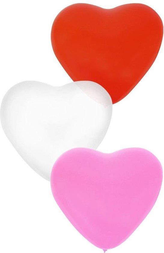 Ballonnen hartjes Roze/Wit/Rood 50 stuks 18 cm