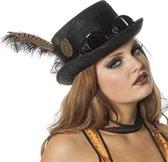 Hoge hoed Steampunk met bril zwart