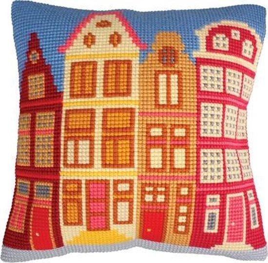 Collection d'Art kruissteekkussen huizen 5225 voorbedrukt borduurpakket