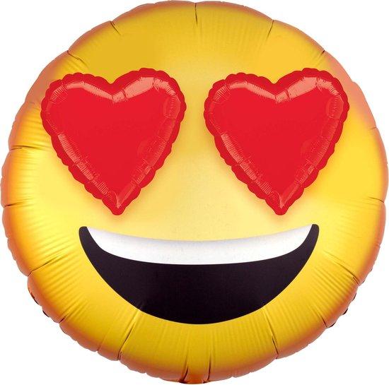 Aluminium emoticon ballon met hartjes ogen - Feestdecoratievoorwerp