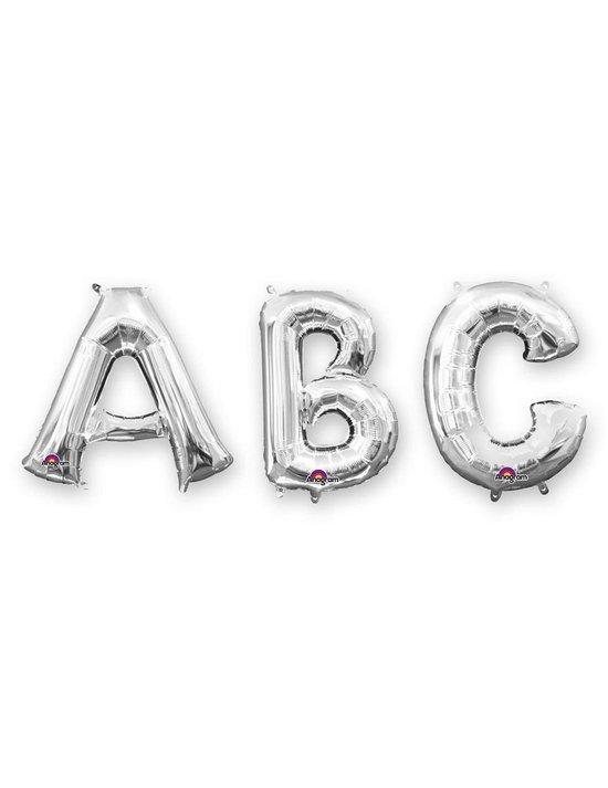 Grote zilverkleurige aluminium letter ballon - Feestdecoratievoorwerp