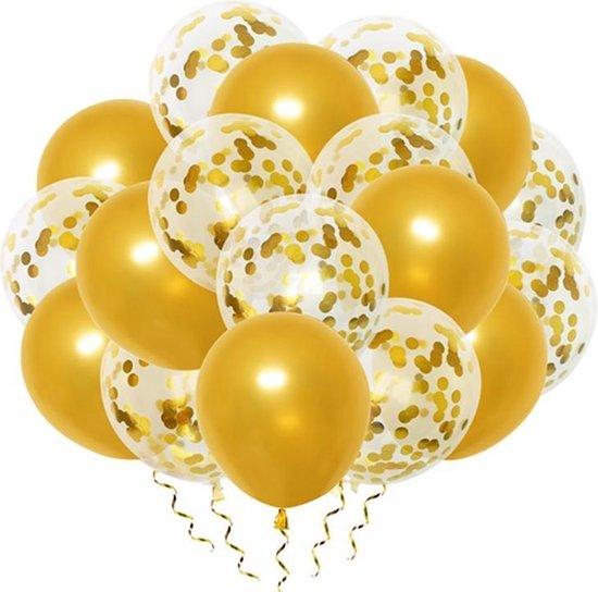 Luxe confetti ballonnen|goud/goud|20 stuks|Helium ballonnenset