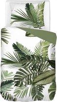 Snoozing Palm Leaves - Dekbedovertrek - Eenpersoons - 140x200/220 cm + 1 kussensloop 60x70 cm - Groen
