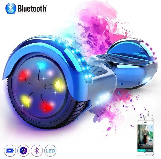 Evercross 6.5 inch Hoverboard met Flits Wielen + TAOTAO moederbord, Elektrische Zelfbalancerende Scooter,Bluetooth Speaker,LED verlichting - Blauw Chroom