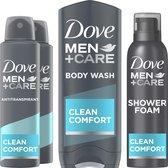 Dove Men+Care Clean Comfort Geschenkset - Antitranspirant, Douchegel en Doucheschuim - Voordeelverpakking