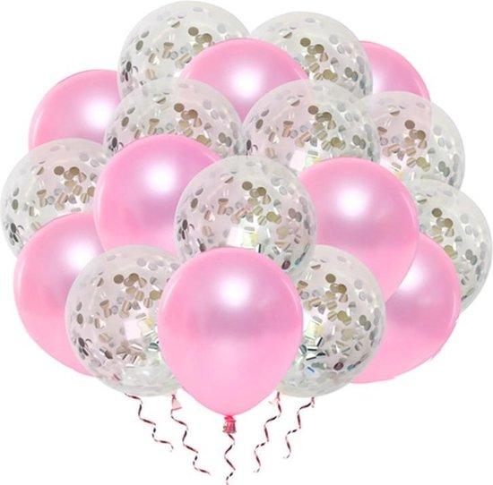 Luxe confetti ballonnen|Roze/zilver |20 stuks|Helium ballonnenset