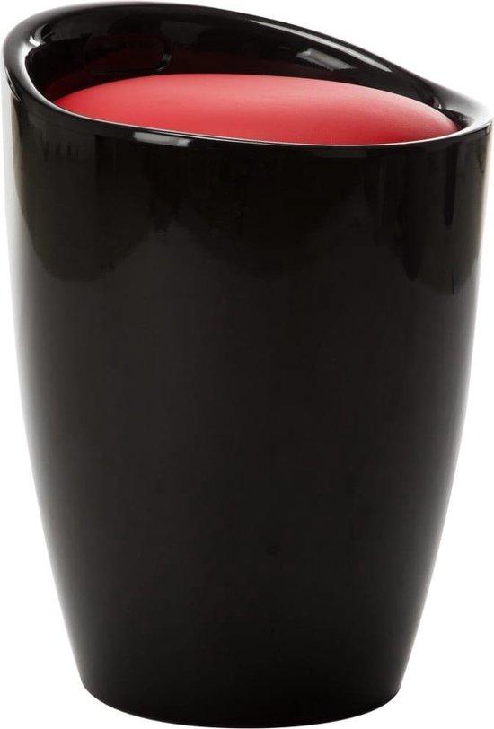 vidaXL Opbergkruk kunstleer zwart en rood